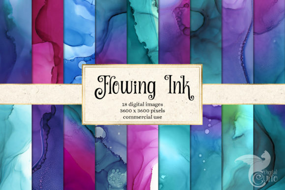 Print on Demand: Flowing Ink Textures Graphic Textures By Digital Curio