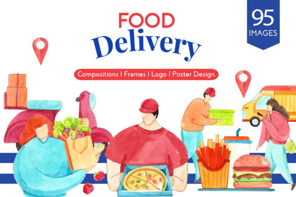 Food Delivery Watercolor Graphic Illustrations By WatercolorEps