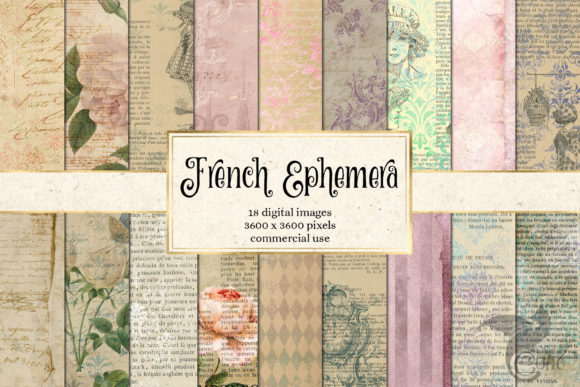 Print on Demand: French Ephemera Digital Paper Graphic Textures By Digital Curio