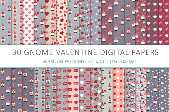 Print on Demand: Gnome Valentines Digital Papers Graphic Patterns By AS Digitale