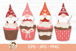 Gnomes with Valentine Cupcake Graphic Illustrations By Guppic the duck