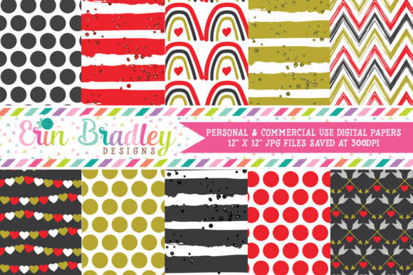 Print on Demand: Golden Valentines Day Digital Papers Graphic Backgrounds By Erin Bradley Designs