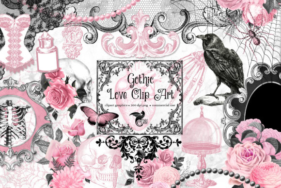 Print on Demand: Gothic Love Clipart Grafik Illustrationen von Digital Curio