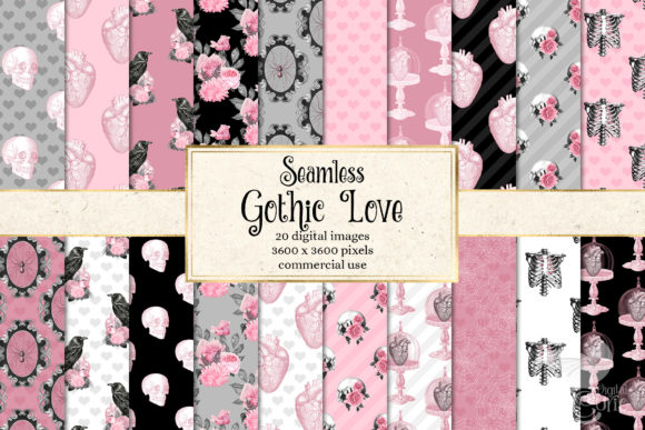 Print on Demand: Gothic Love Digital Paper Grafik Hintegründe von Digital Curio