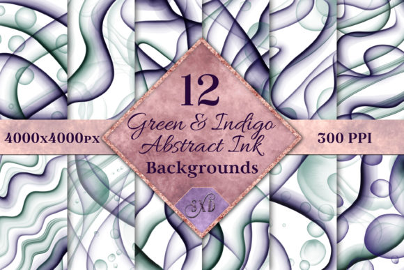 Print on Demand: Green & Indigo Abstract Ink Backgrounds Graphic Backgrounds By SapphireXDesigns