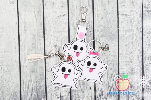 Halloween Ghost ITH Keyfob Design Halloween Embroidery Design By embroiderydesigns101