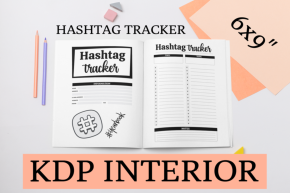 Print on Demand: Hashtag Tracker | KDP Interior Graphic KDP Interiors By KDP Mastermind