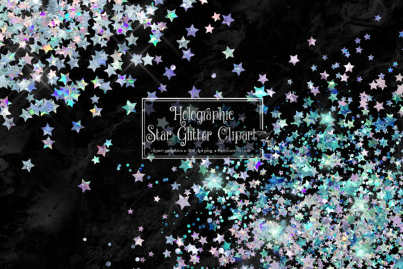 Print on Demand: Holographic Star Glitter Clipart Grafik Illustrationen von Digital Curio