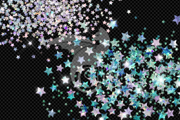 Holographic Star Glitter Clipart Graphic Download