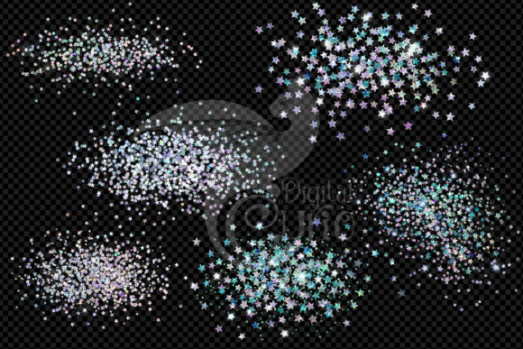 Holographic Star Glitter Clipart Graphic Preview