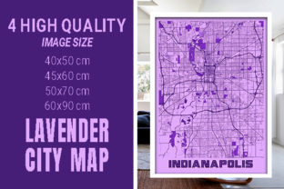 Indianapolis - Indiana Lavender City Map Graphic Photos By pacitymap