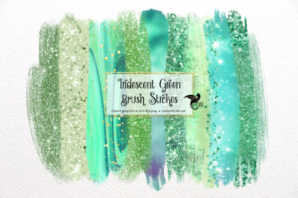 Print on Demand: Iridescent Green Brush Strokes Clipart Graphic Illustrations By Digital Curio