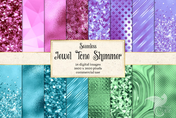 Print on Demand: Jewel Tone Shimmer Digital Paper Grafik Texturen von Digital Curio