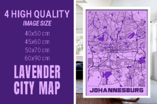 Johannesburg - South Africa Lavender Map Graphic Photos By pacitymap