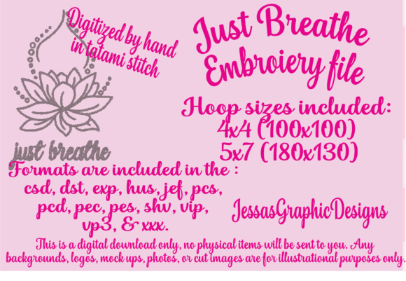 Print on Demand: Just Breathe Mandala Embroidery Design By JessasGraphicDesgins
