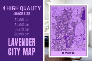 Kyoto - Japan Lavender City Map Graphic Photos By pacitymap