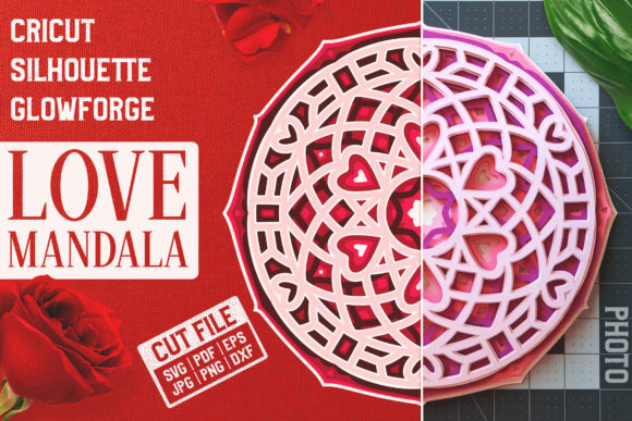 Layered 3D Love Mandala SVG Cut File Graphic Crafts By pixaroma