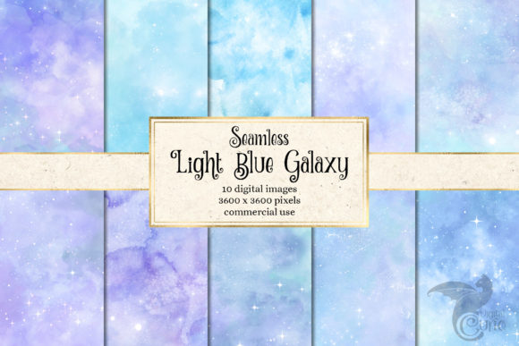 Print on Demand: Light Blue Galaxy Textures Digital Paper Graphic Textures By Digital Curio