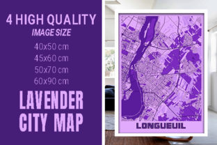 Longueuil - Canada Lavender City Map Graphic Photos By pacitymap