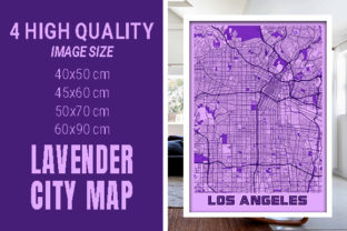 Los Angeles - Califonia Lavender City Graphic Photos By pacitymap