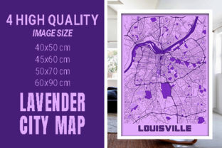 Louisville - Kentucky Lavender City Map Graphic Photos By pacitymap