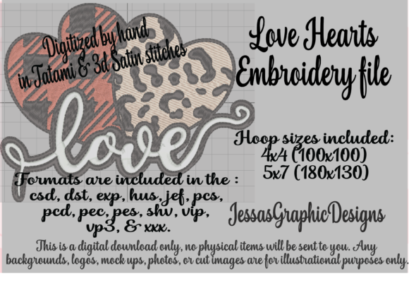 Print on Demand: Love Hearts Valentine's Day Embroidery Design By JessasGraphicDesgins