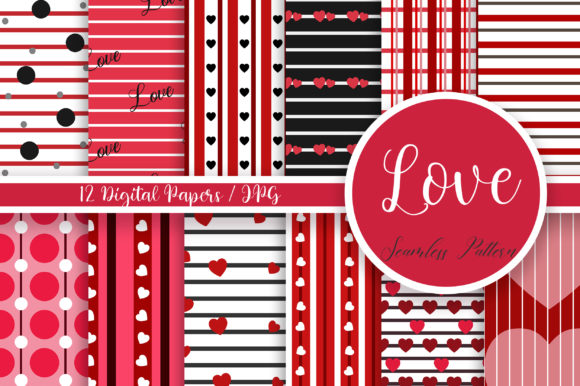 Love Seamless Pattern Digital Papers Graphic Patterns By PinkPearly