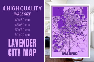 Madrid - Spain Lavender City Map Graphic Photos By pacitymap