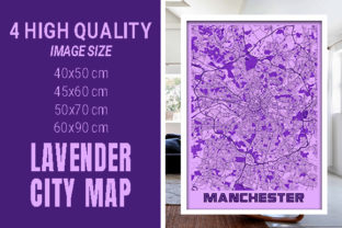 Manchester - United Kingdom Lavender Map Graphic Photos By pacitymap