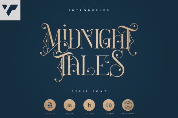 Print on Demand: Midnight Tales Serif Font By vladfedotovv
