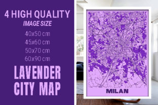Milan - Italy Lavender City Map Graphic Photos By pacitymap