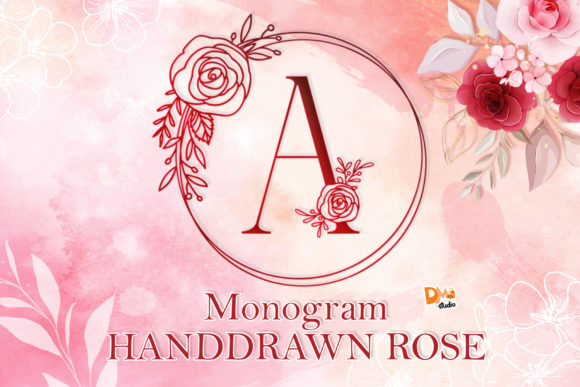 Print on Demand: Monogram Handdrawn Rose Dekorativ Schriftarten von dmletter31