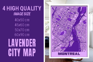 Montreal - Canada Lavender City Map Graphic Photos By pacitymap