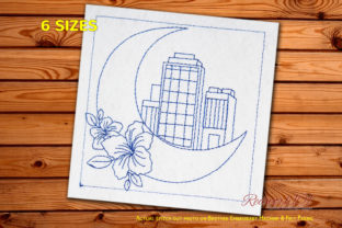 Moon on the City Cities & Villages Embroidery Design By Redwork101