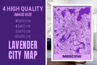 Moscow - Russia Lavender City Map Graphic Photos By pacitymap