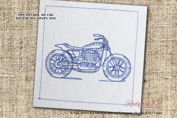 Motorcycle Transportation Embroidery Design By Redwork101
