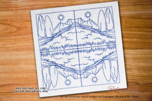 Moutain Pattern Bluework Backgrounds Embroidery Design By Redwork101