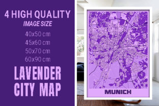 Munich - Germary Lavender City Map Graphic Photos By pacitymap