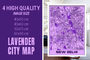 New Delhi - India Lavender City Map Graphic Photos By pacitymap