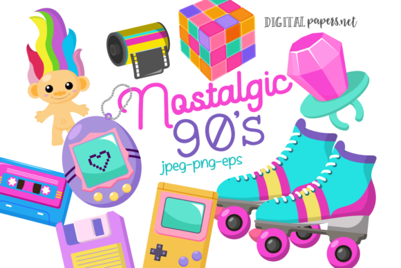 Print on Demand: Nostalgic 90s Graphic Illustrations By DigitalPapers