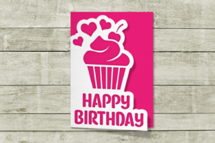 Papercut Birthday Card with Cupcake SVG Graphic Crafts By RisaRocksIt