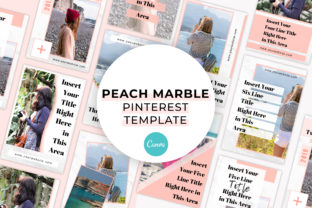 Print on Demand: Peach Marble Canva Pinterest Template Graphic Presentation Templates By SnapyBiz