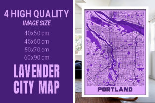Portland - United States Lavender City Graphic Photos By pacitymap