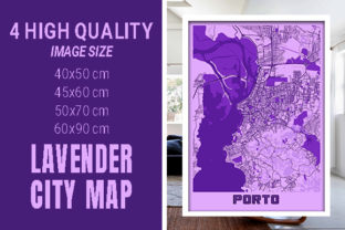 Porto - Portugal Lavender City Map Graphic Photos By pacitymap