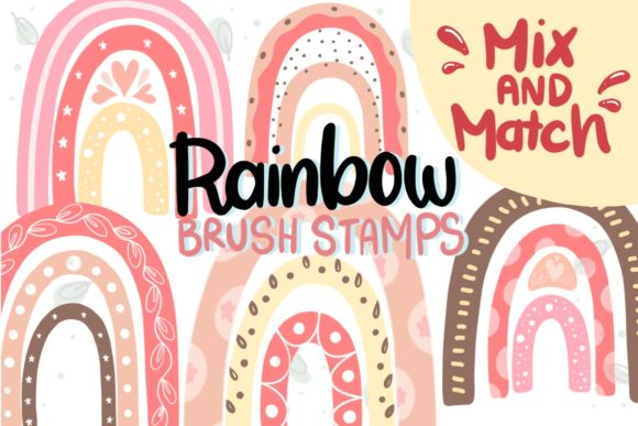 Print on Demand: Procreate Brush, Rainbow Stamps, Brushes Graphic Add-ons By Ginkean