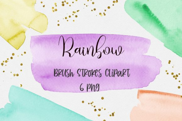 Rainbow Watercolor Brush Strokes Clipart Graphic Backgrounds By PinkPearly