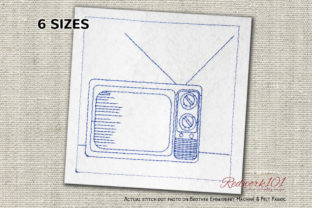 Retro Old Televisions House & Home Quotes Embroidery Design By Redwork101