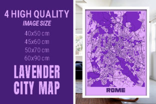 Rome - Italy Lavender City Map Graphic Photos By pacitymap