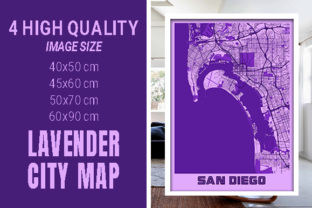 San Diego - United States Lavender City Graphic Photos By pacitymap