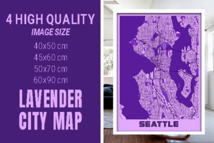 Seattle - United States Lavender City Graphic Photos By pacitymap